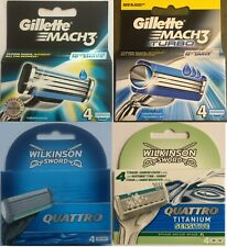 Gillette Mach 3 / Turbo / Wilkinson Quattro / Titanium Cartridge- 4 Blades -pack