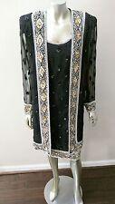 Retro Vintage 80s Art Deco Nouveau Silk 2 Pc Beaded Formal Dress Suit 10-12