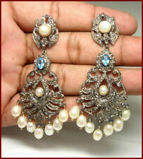 5.40Ct Rosecut Diamond 925 Sterling Silver & Gemstone Dangler