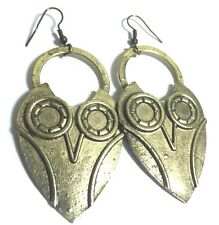 Owl Earrings Dangle Drop Gold Tone Metal 2.5 inches 6.5 cm With Wires jewelry