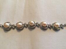 "White Gold Plated Apple Shape Pearl Rhinestone Adjustable Bracelet 8"""
