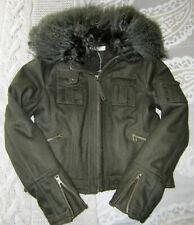 label lab military bomber style wool jacket, mongolian fur collar khaki sz 12