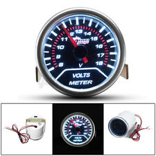 "2"" 52MM UNIVERSAL CAR AUTO MOTOR white LED VOLTAGE VOLT GAUGE METER SMOKE new +"