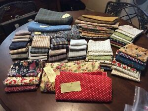 Almost Ten Pounds Of Cotton Quilting Fabric - Mini Prints, Stripes, Floral