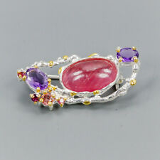 Fine Art Natural Ruby 925 Sterling Silver Brooch /NB06846