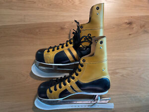 Herren eishockey schlittschuhe Silvretta golden - Vintage, Grösse 44