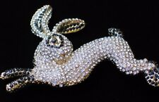 "Heidi Daus REPLICA Black Rhinestone Easter Bunny Rabbit Pin Brooch Jewelry 3""LRG"