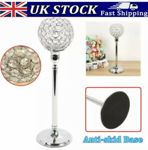 Tall Crushed Crystal Tealight Pilar Candle Holder Stand Wedding Table Decor Gift