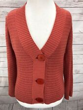 TALBOTS Petite Size PM Cardigan Sweater Women s Coral Long Sleeve Open Knit e754cb3b6