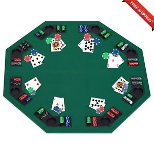 HOMCOM 1.2m/48 Inches Foldable Poker Table Top 8 Players Blackjack Chip Trays