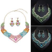 Stylish Women Jewelry Sets Crystal Rhinestone Necklace Earrings Bib Choker Gifts