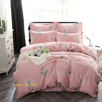Single/Double/Queen/King Bed Quilt/Doona/Duvet Cover Set Cotton Pink Dandelion