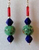 Green Czech Vintage Splatter Glass Blue Red Bead Sterling 925 Silver Earrings