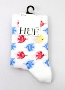 HUE women's Nautical Tropical Fish Socks