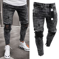 Men Destroyed Frayed Ripped Jeans Skinny Denim Trousers Biker Zip Pencil Pants