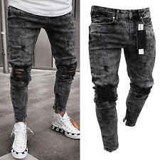 Mens Denim Skinny Ripped Jeans Pants Casual Slim Fit Zipper Biker Jogger Trouser