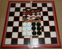 Vintage Merchant Chess & Draughts Board With Draughtsmen