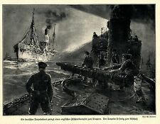 1914 Seekrieg * Deutsches Torpedoboot Torpedo fertig zum Abschuss * WW 1