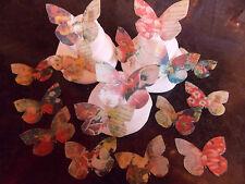 16 PRECUT Vintage Flower Edible wafer/rice paper Butterflies cake/cupcake topper