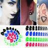 9-18pc Pair UV Gauge Ear Flexible Triangle Silicone Flesh Tunnel Flared Plug Set