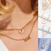Acrylic Butterfly Pendant Gold Multilayer Chain Letters Pendants Women Jewelry
