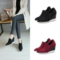 Womens Suede Wedge High Heel Sneakers Casual Low Top Thick Sole Athletic Shoes