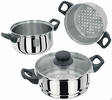 JUDGE Stainless Steel Versatile 3 Piece 18cm Steamer Set with Glass Lid.  PP302