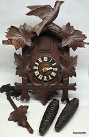 "Black Forest Germany DRGM Cuckoo Clock Wood 14"" for repair parts present Vintage"