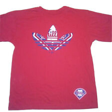 PHILADELPHIA PHILLIES ADIDAS 3 LEAF SHIRT SIZE YOUTH LARGE RED COTTON TEE
