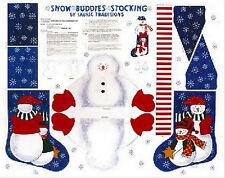 Christmas Snow Buddies Cotton Fabric Snowman Stocking Cut & Sew Project PANEL
