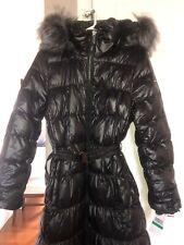 NEW Michael Kors  Long Puffer Coat Hood Faux Fur Trim Down Black Large