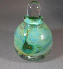 Modern Artist Signed Blown Thick Glass Green Bulb Shaped Bottle Perfume.