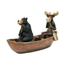 Wildlife Outdoor Best Buddies Black Bear & Moose Canoe Boating Cabin Sculpture