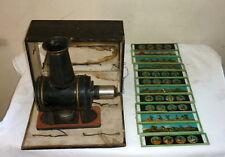 ANCIENNE LANTERNE MAGIQUE EP TOLE JOUET ANCIEN 1890 ERNST PLANK boite 12 plaque