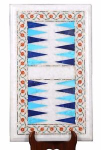 """18"""" x 12"""" Marble Backgammon Coffee Table Top Turquoise Inlay Decor"""