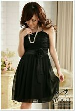 elegantes Abendkleid schwarz Chiffon Cocktailkleid Abiballkleid mit Träger