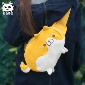 Kawaii Shiba inu Chest Bag Canvas Cartoon Shoulder bag Anime Waist Bag