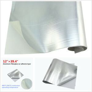 "12""x39.4"" Car Exhaust Heat Shield Barrier Aluminum-Fiberglass w/ Adhesive Layer"
