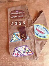 Washington DC Girl Scout Sash Badges Patches Owl Mt. Vernon 1988 1989 vintage