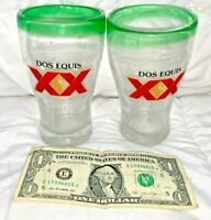 Lot of 2 XX Cerveza Dos Equis Blown Glass /w Bubbles And Green Rim - Pint Size