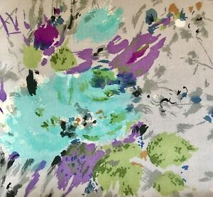 Vintage Retro Abstract Fine Floral Silk Fabric ~ Aqua Blue Green Purple Gray