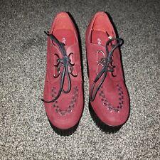 Charlotte Russe Womens 6 Burgundy Red Microsuede Platform Shoes 36 Vegan