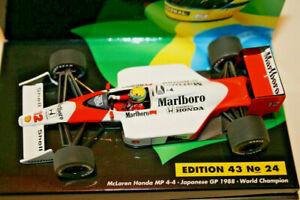 1/43 MINICHAMPS A. SENNA MCLAREN HONDA MP4/4 JAPAN GP 1988 WORLD CHAMPION
