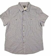 Kenneth Cole Reaction S/S Button Front Blue Striped Shirt in XL