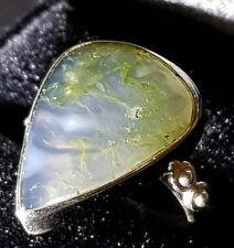 Moss Agate Gemstone  Ring Solid 925 Sterling Silver Hallmark stamp Size 7 US