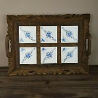 """Vintage Hand Carved Wood Serving Tray Inlaid With 6 Ceramic Tiles 20"""" x 14"""""""