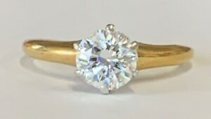 Estate Jewelry 0.75 Ctw Diamond Solitaire Ring 18K Yellow Gold Band Size 5.25