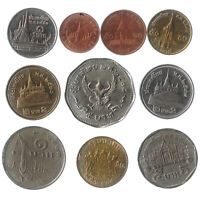 10 DIFFERENT COINS FROM THAILAND OLD COLLECTIBLE ASIAN MONEY THAI BAHT, SATANG