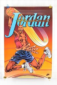 Vintage 1991 NIKE MICHAEL Super Cartoon JORDAN  Dunking Poster 36x24