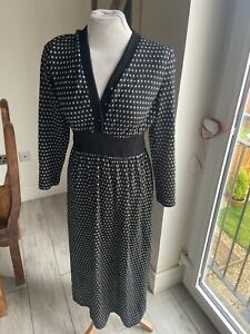VINTAGE 80's BLACK & SILVER POLKA DOT KNIT NEW WAVE TEA DRESS UK 8 SMALL
